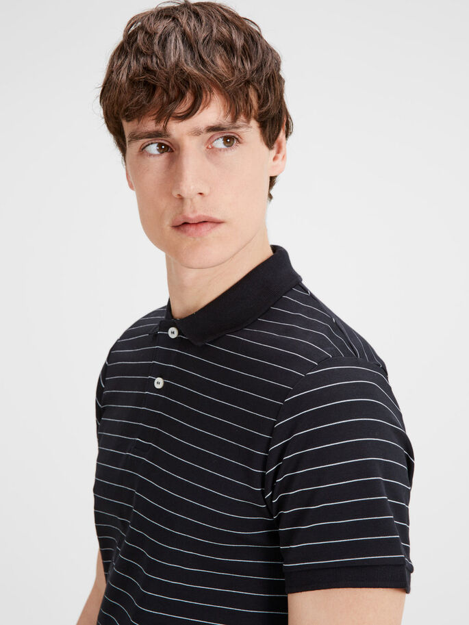 STRIPED POLO SHIRT, Black, large