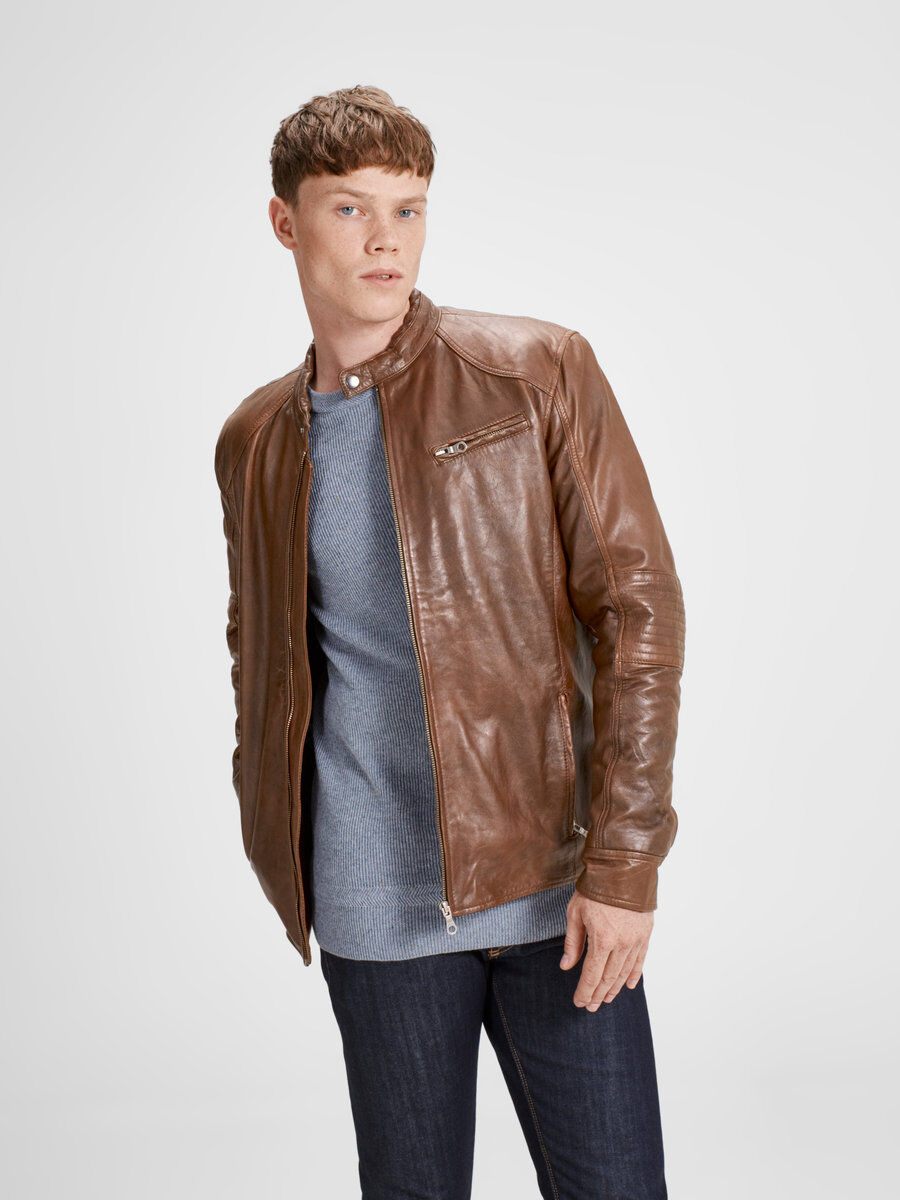 ON-TREND LEATHER JACKET, Bone Brown, large