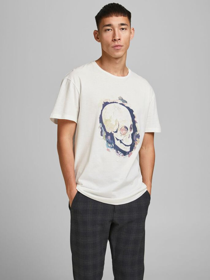 RELAXED FIT SKULL PRINT T-SHIRT, Cloud Dancer, large