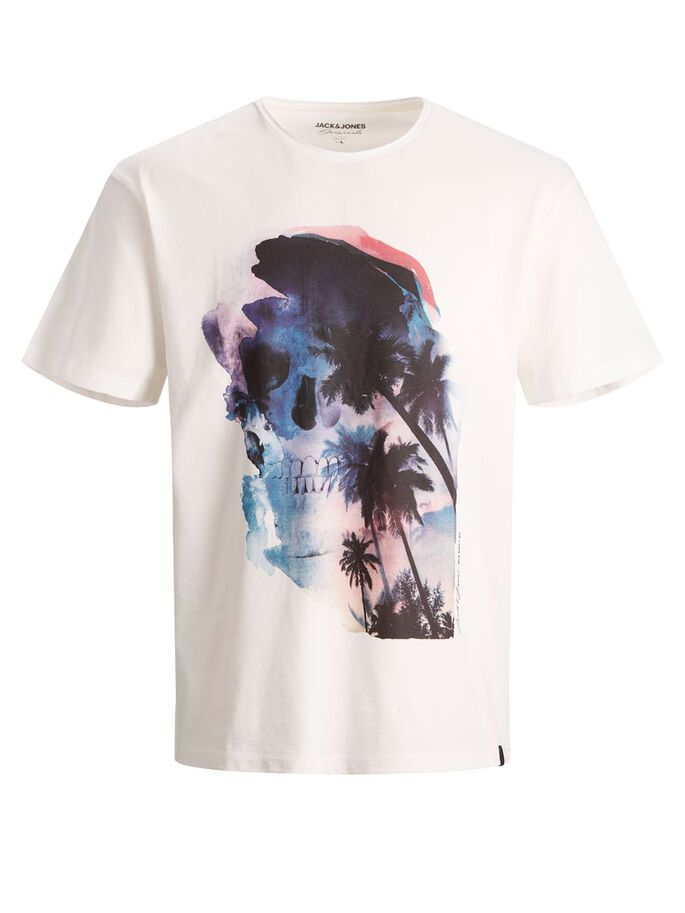 TROPICAL WATERCOLOUR PRINT T-SHIRT, Cloud Dancer, large