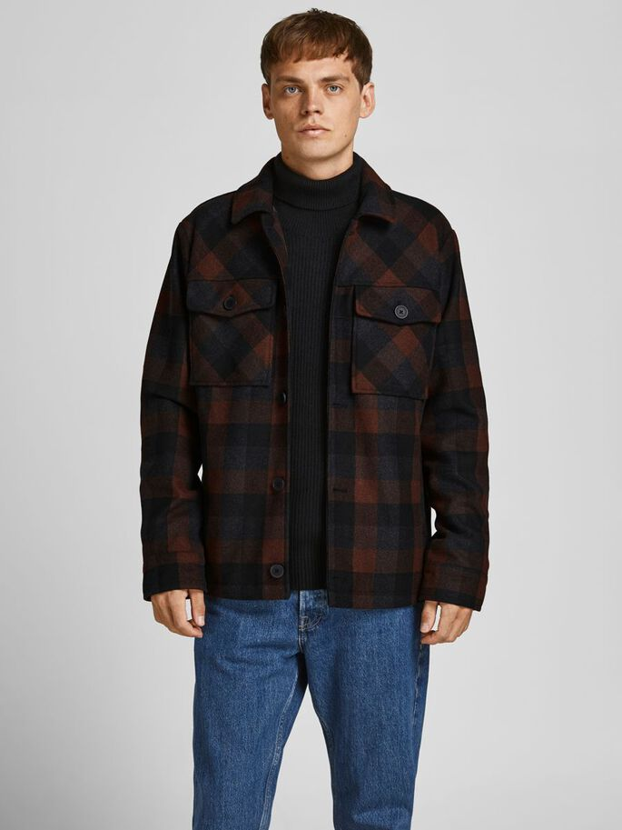 WOOL BLEND WORKER JACKET, Cappuccino, large