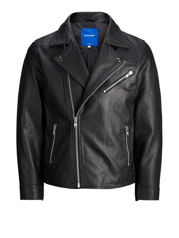 ICONIC BIKER LEATHER JACKET, Black, large