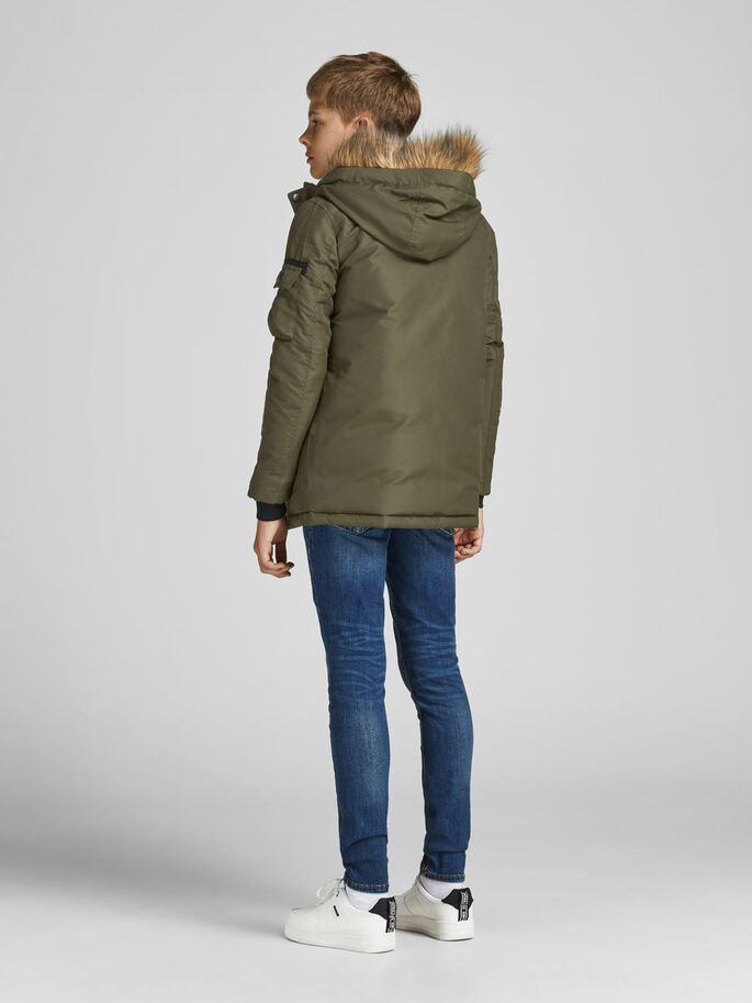 BOYS HOODED PARKA, Forest Night, large