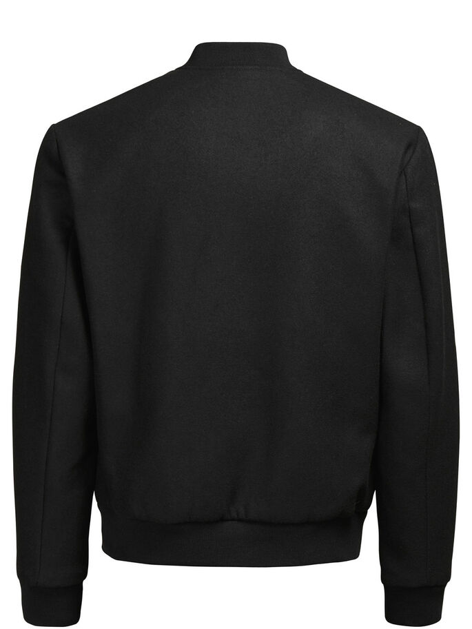 WOOL BOMBER JACKET, Black, large