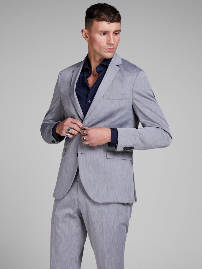 GREY MELANGE BLAZER, Light Grey Melange, large