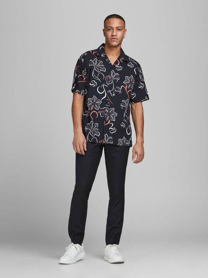 POPLIN RESORT SHORT SLEEVED SHIRT, Black, large
