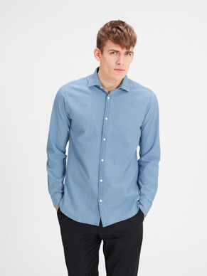 CON COLLETTO ALLA FRANCESE IN CHAMBRAY CAMICIA A MANICHE LUNGHE