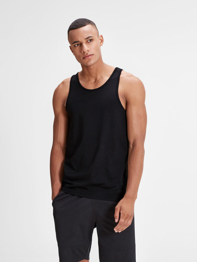 PLAIN TANK TOP, Black, large
