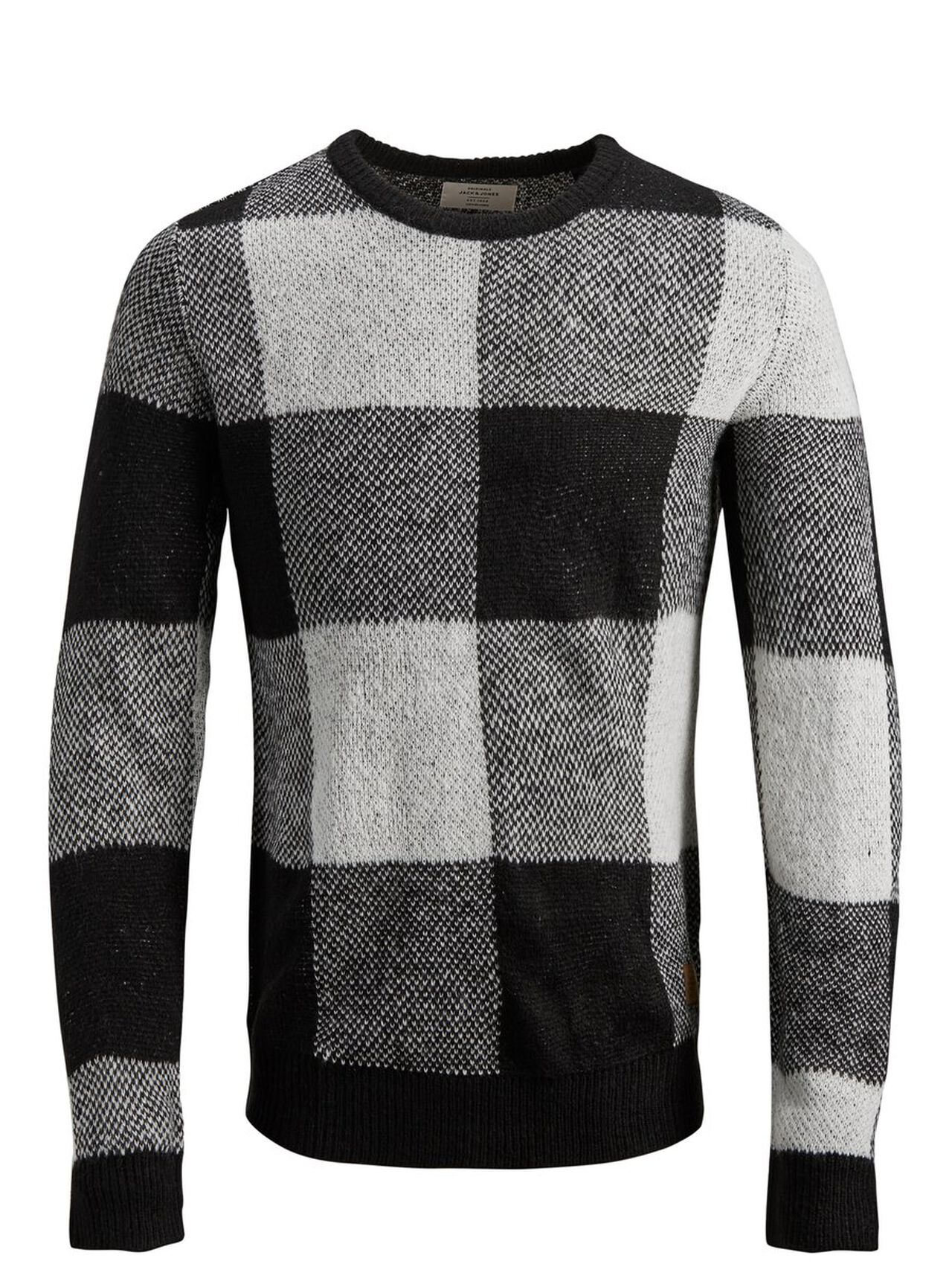 JACK & JONES Patterned Knitted Pullover Men Black