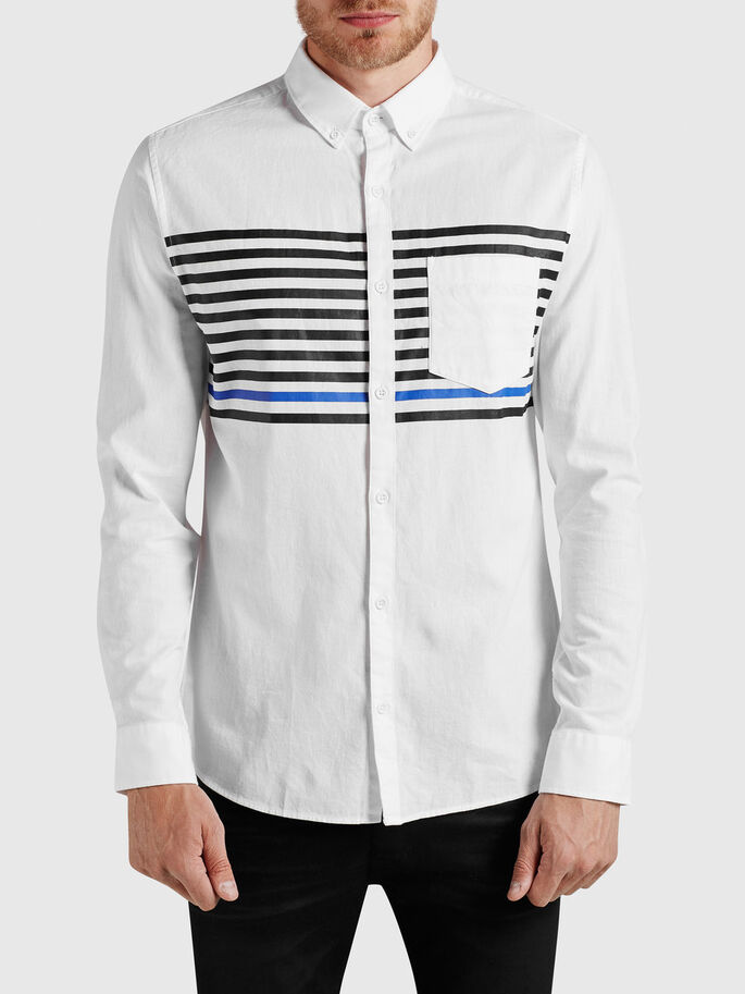 STRIPED LONG SLEEVED SHIRT, White, large