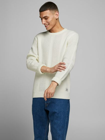 TEXTURED CREW NECK KNITTED PULLOVER