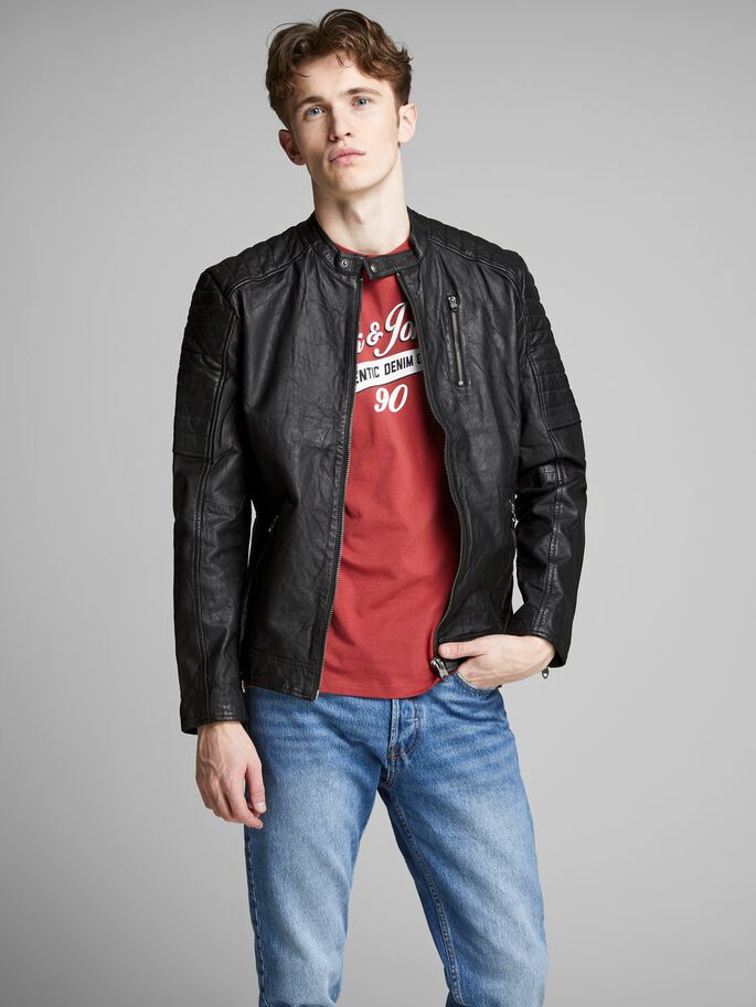 Leather biker leather jacket   JACK   JONES a1a4c7ead6