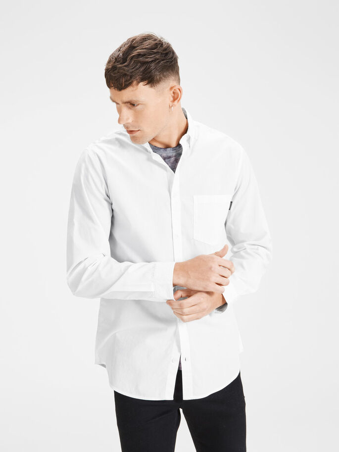 CASUAL SLIM FIT LONG SLEEVED SHIRT, White, large