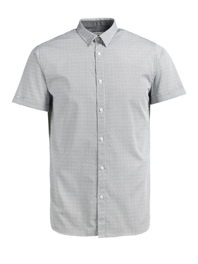 MICRO PRINT SHORT SLEEVED SHIRT, White, large