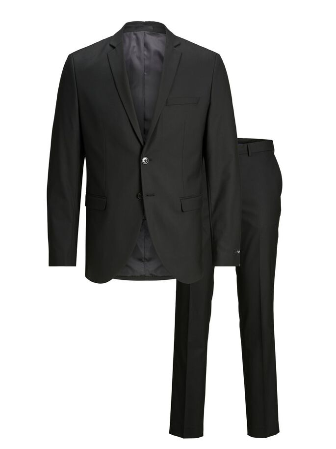 2-PIECE PLUS SIZE SUIT, Black, large