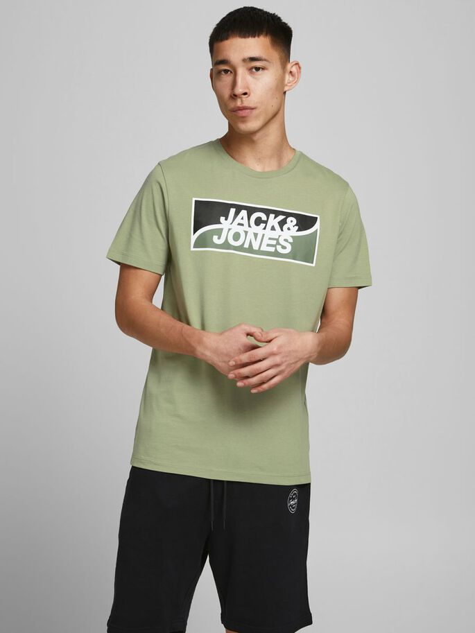 SLIM FIT LARGE LOGO T-SHIRT, Oil Green, large