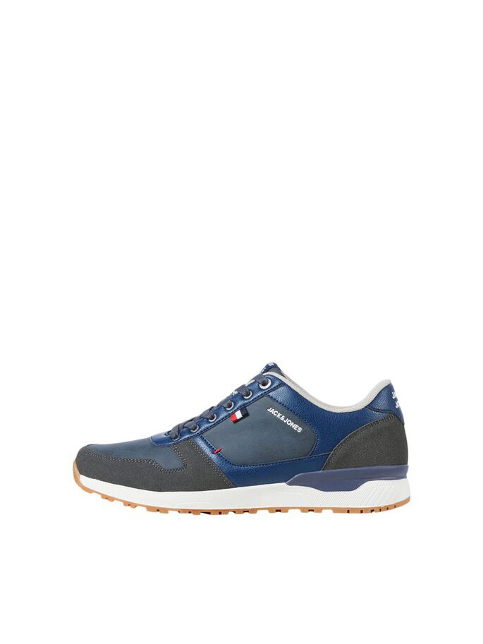 COATED FAUX LEATHER SNEAKERS, Navy Blazer, large