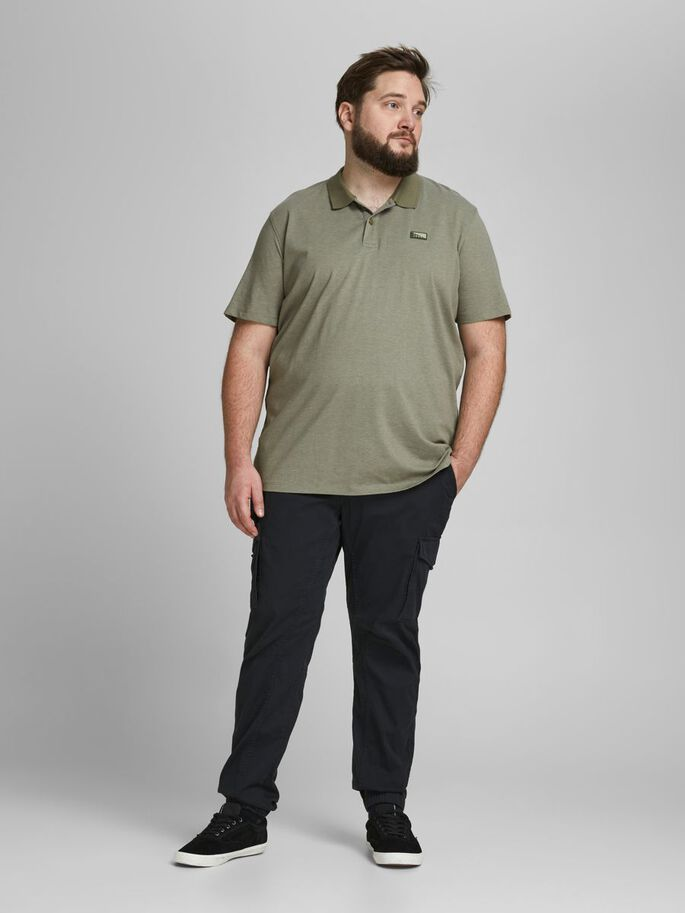 JERSEY SIMPLE POLO EN GRANDES TAILLES, Deep Lichen Green, large