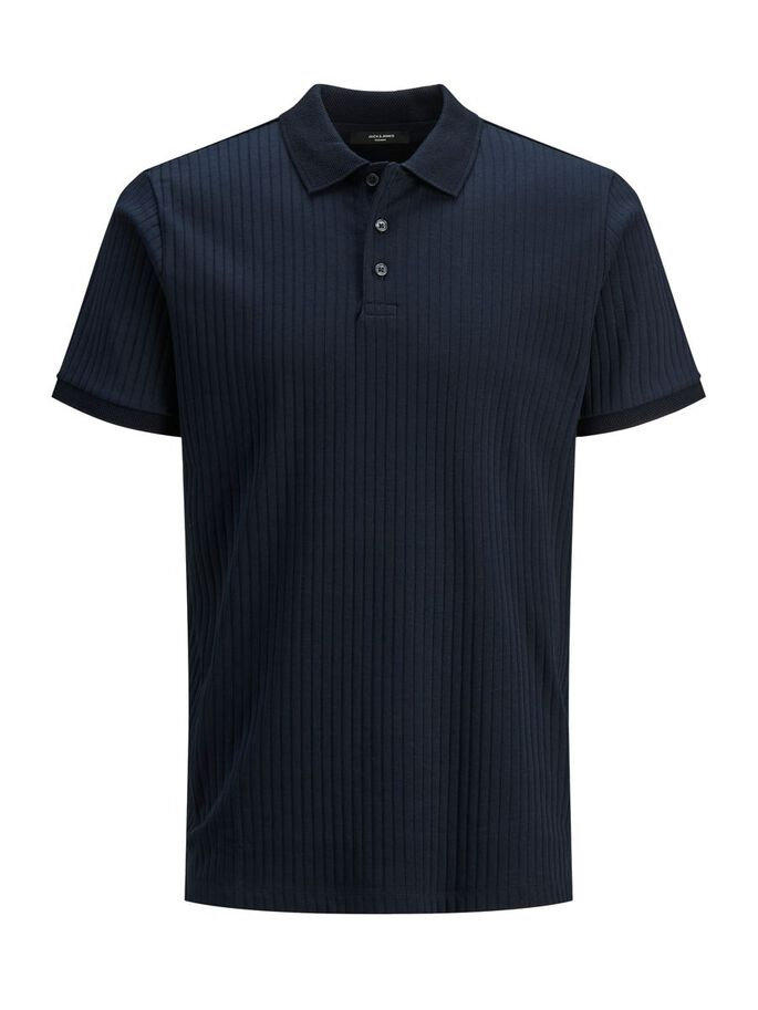RIBBIKANKAINEN REGULAR FIT PIKEEPAITA, New Navy, large