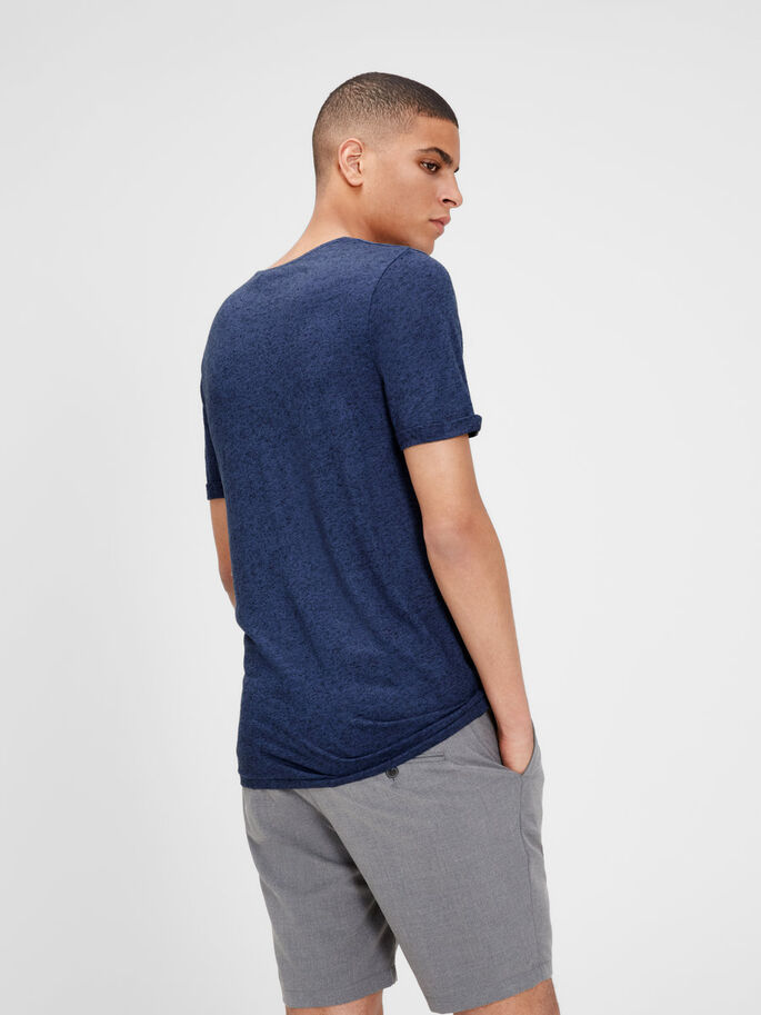 LINEN BLEND T-SHIRT, Mood Indigo, large
