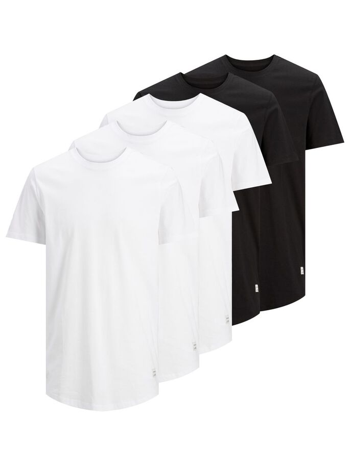 5-PACK ORGANIC COTTON SOLID T-SHIRT, Black, large