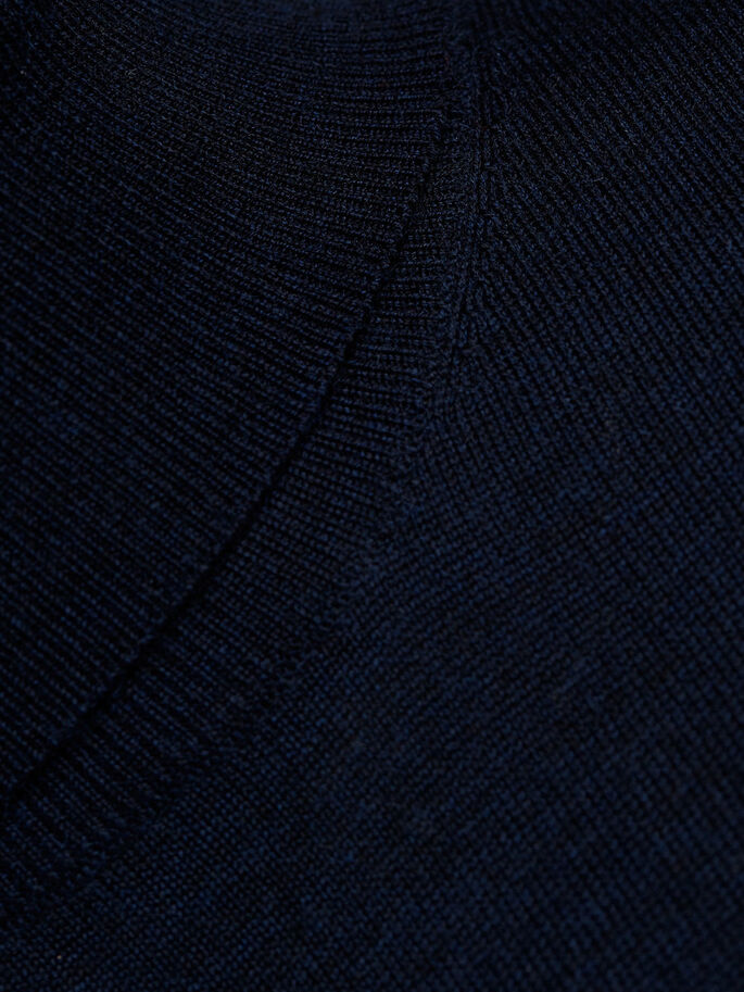 SUPER FINE MERINO WOOL KNITTED PULLOVER, Navy Blazer, large