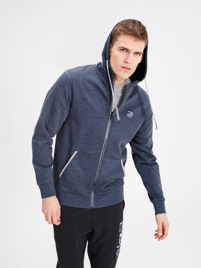 HOODED ZIP THROUGH SPORTS SWEATSHIRT, Navy Blazer, large