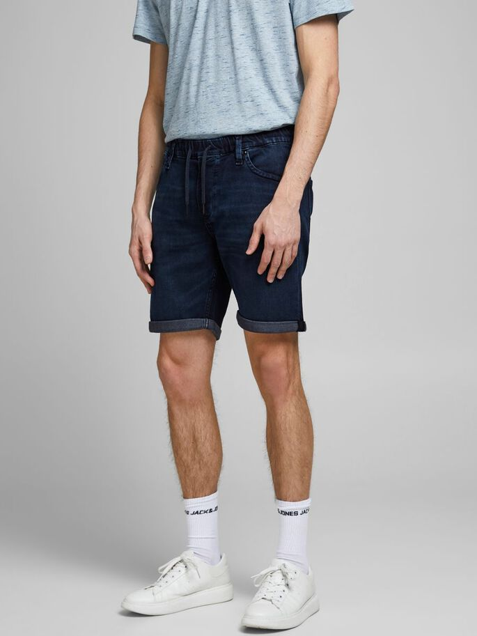 RICK DASH INDIGO KNIT DENIM SHORTS, Blue Denim, large