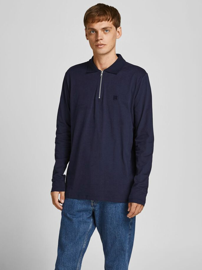 ZIP LONG-SLEEVED POLO, Perfect Navy, large