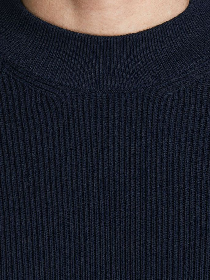ORGANIC COTTON BLEND KNITTED PULLOVER, Maritime Blue, large