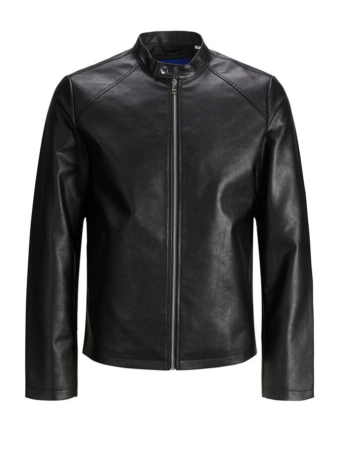 MINIMALIST FAUX LEATHER JACKET, Black, large