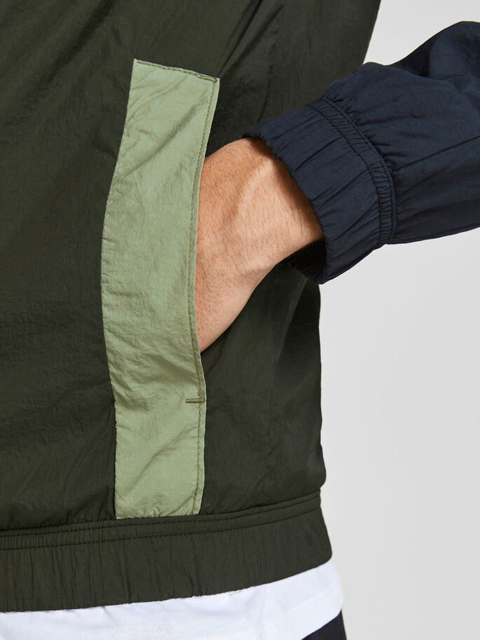 COLOUR BLOCK TRACK JACKET, Forest Night, large