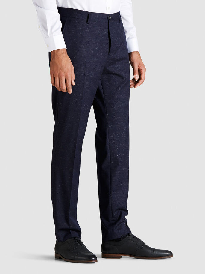 WOOL BLEND SUIT TROUSERS, Dark Navy, large