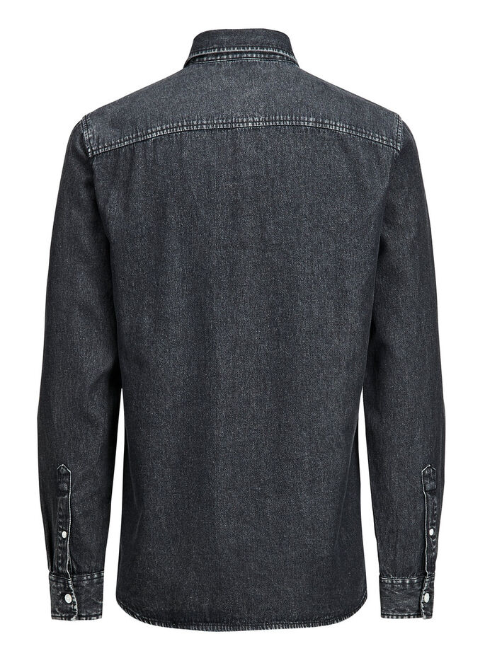 CASUAL DENIM OVERHEMD MET LANGE MOUWEN, Grey Denim, large