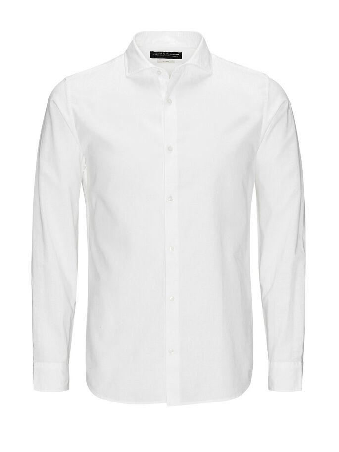 LEINENMISCHFASER, KENTKRAGEN- BUSINESSHEMD, White, large