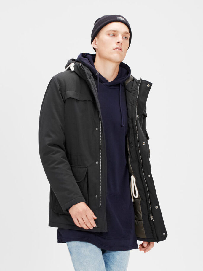 PADDED PARKA COAT, Black, large
