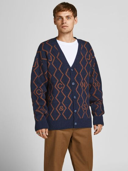 REWORKED ARGYLE KNITTED CARDIGAN