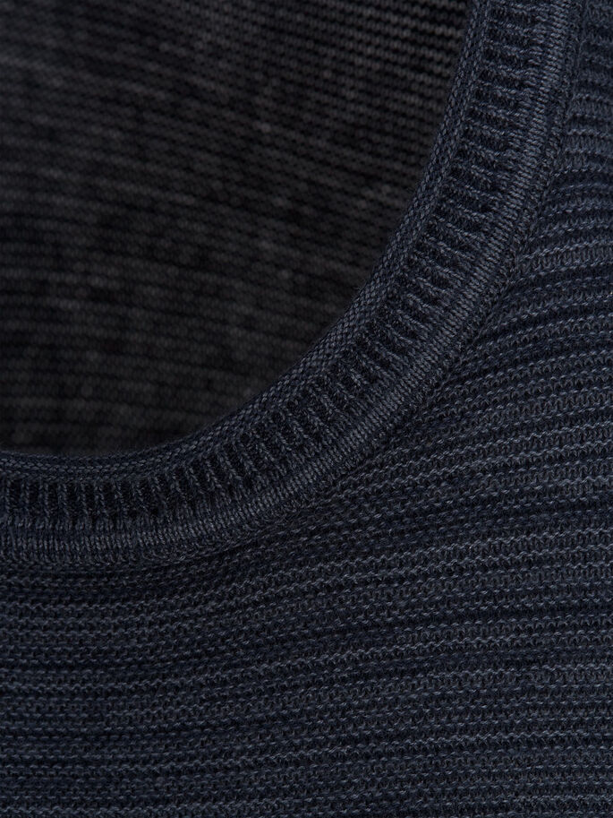 CASUAL KNITTED PULLOVER, Dark Navy, large