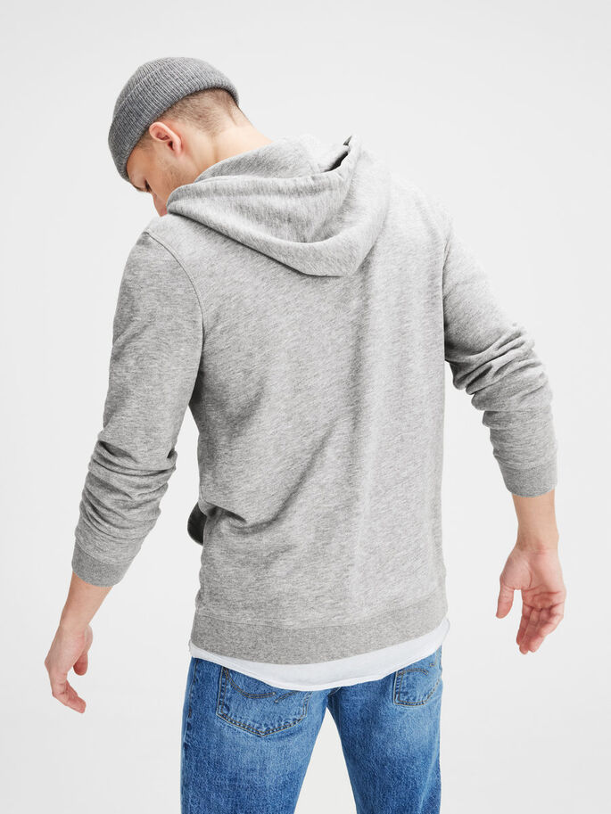 GERECYCLED MET RITS SWEATSHIRT, Light Grey Melange, large