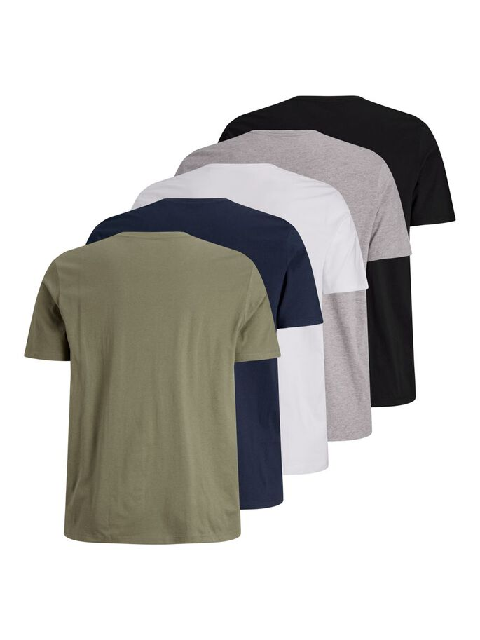 5-PACK PLUS SIZE T-SHIRT, White, large