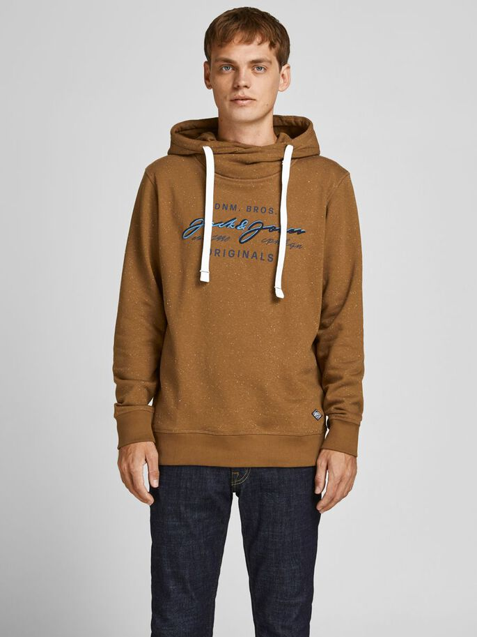 LOOPBACK EMBROIDERY LOGO HOODIE, Rubber, large