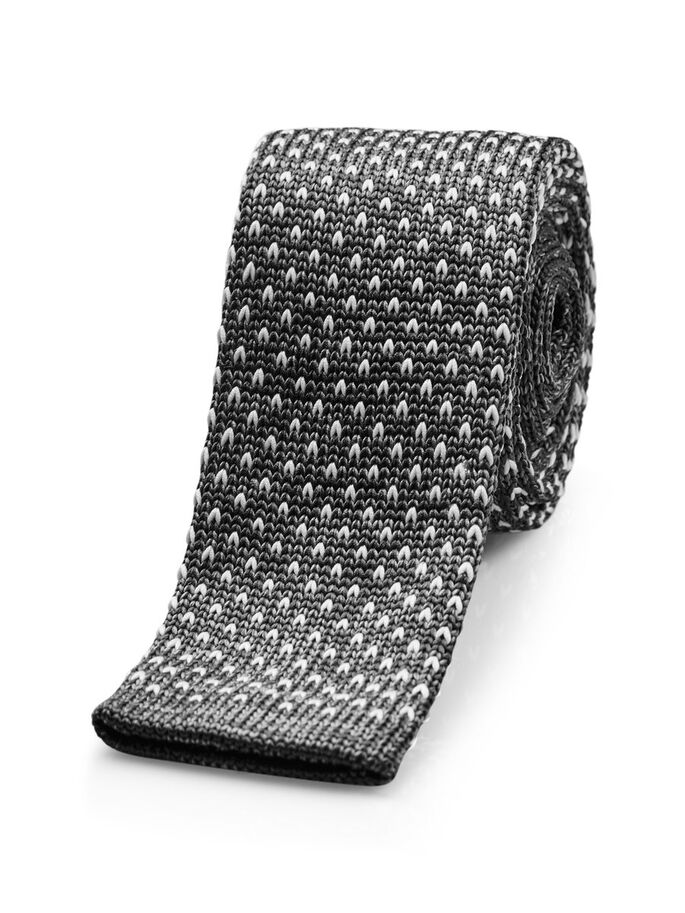 KNITTED TIE, Grey Melange, large