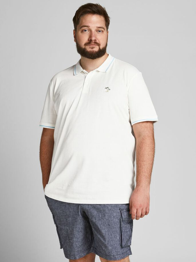 KLASSISCH PLUS SIZE POLOSHIRT, Cloud Dancer, large