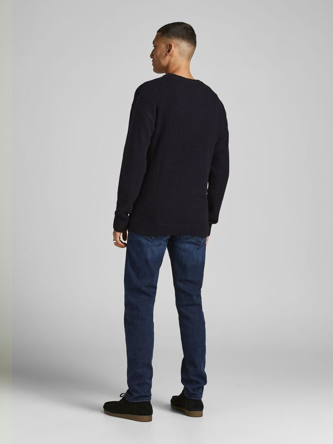 JACQUARD WEAVE KNITTED PULLOVER, Black, large
