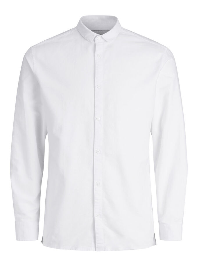 OXFORD LONG SLEEVED SHIRT, White, large