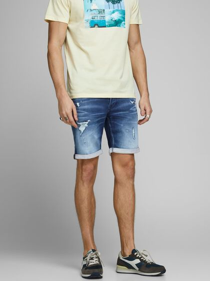 RICK ICON GE 007 INDIGO KNIT SHORTS EN JEAN
