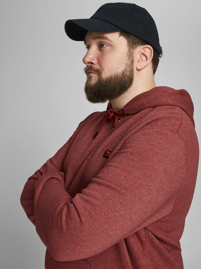 LOOPBACK PLUS SIZE HOODIE, Red Ochre, large
