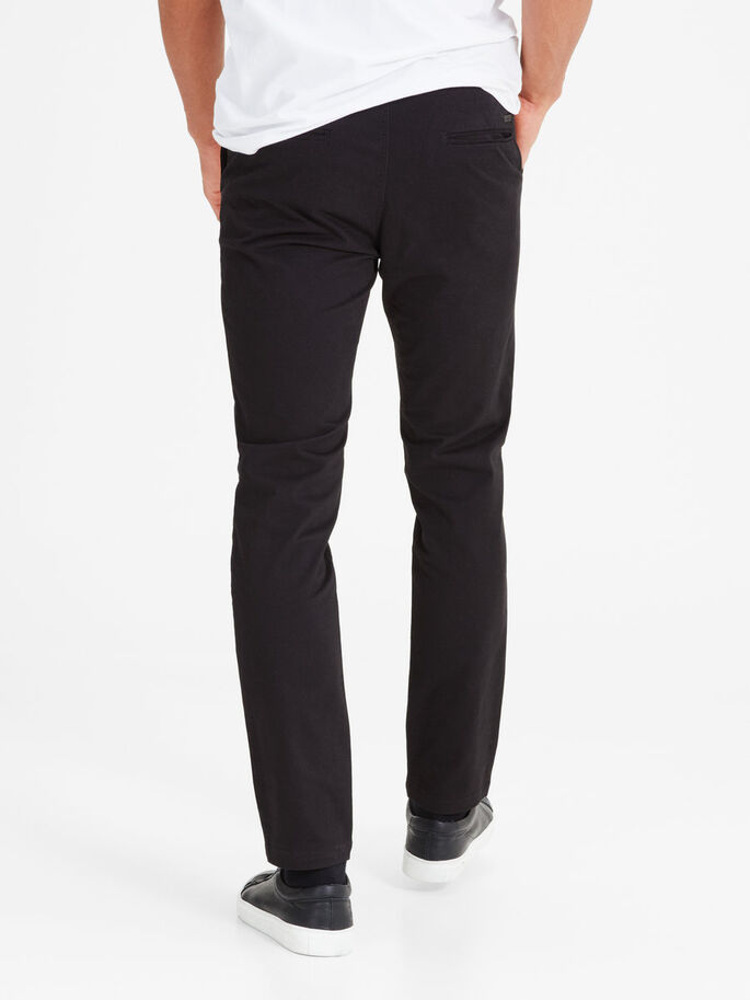 MARCO BLACK SLIM FIT CHINOS, Black, large