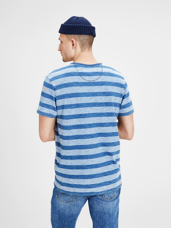 STRIPED T-SHIRT, Mood Indigo, large