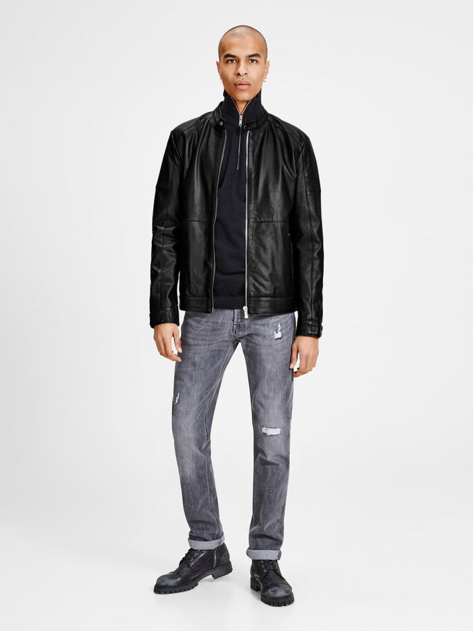 MINIMAL LEATHER JACKET, Black, large